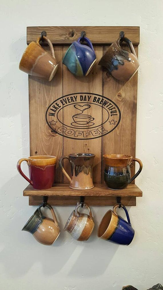 Coffee Mug Rack Wall Mounted Home Decor In