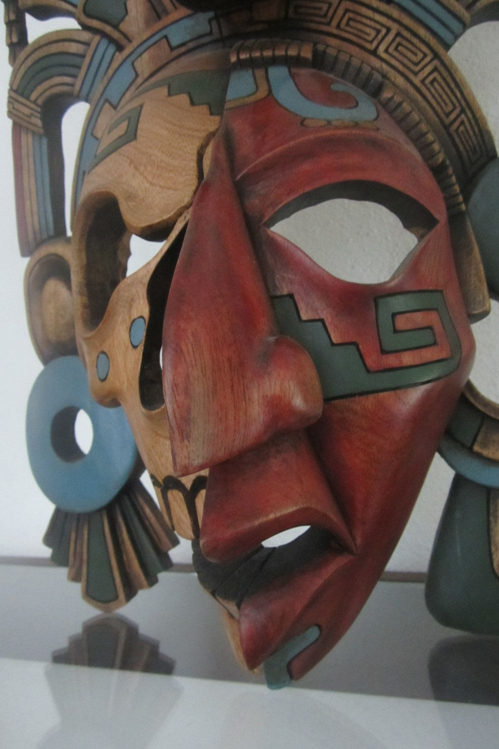 Mayan Mask in Cedar Life and death Jaguar and Serpent elaborate headdress.  Warrior Art  from Mexico.