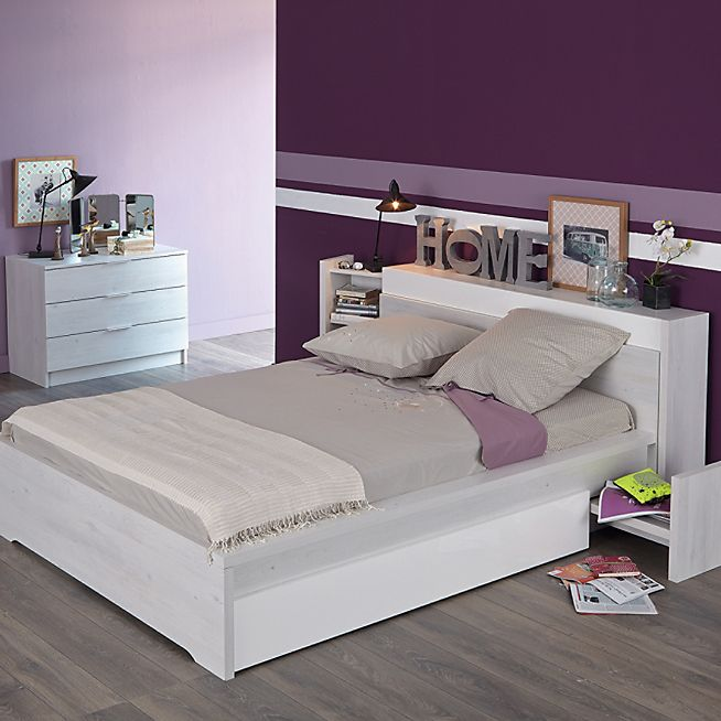 brooklyn lit 2 places effet cerisier blanchi avec t te de lit cerisier lit matelas et matelas. Black Bedroom Furniture Sets. Home Design Ideas
