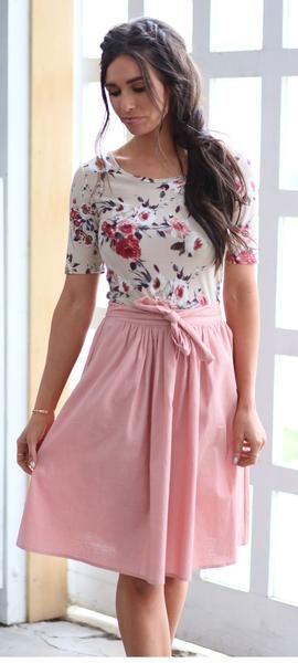 Waist Tie Skirt (Pink) #churchoutfitfall