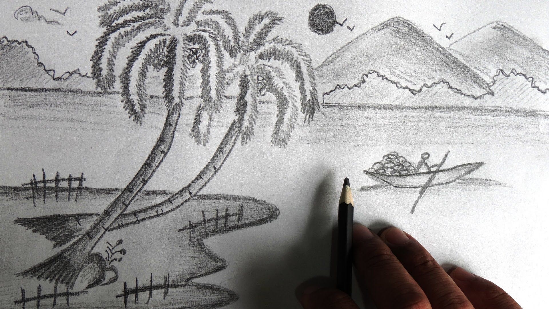 Scenery shape drawing pencil sketch