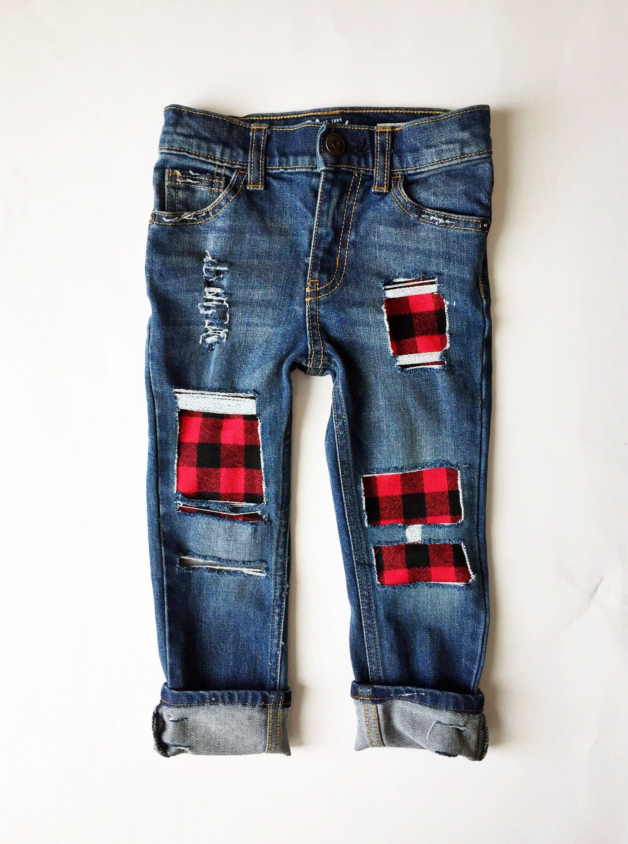2bb3870e8e Grandpa's Flannel Jeans, Red and Black Buffalo Plaid Flannel Patched Skinny  Jeans, Toddler Style, Baby Boy Fashion, Kids' Distressed Denim, ...