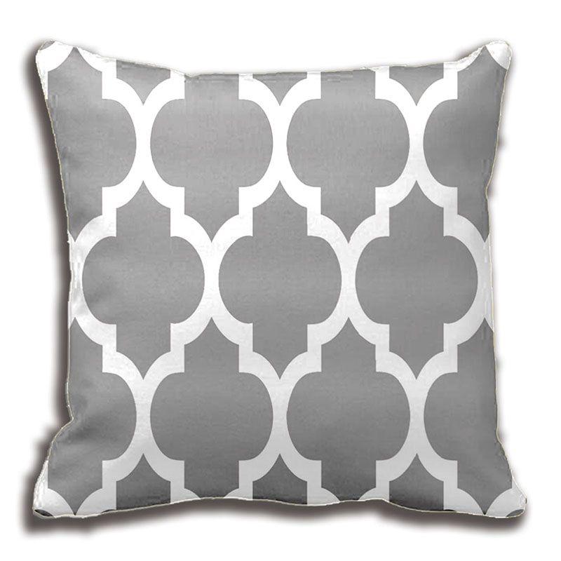 Dark Grey White Moroccan Quatrefoil Pattern Throw Pillow Decorative