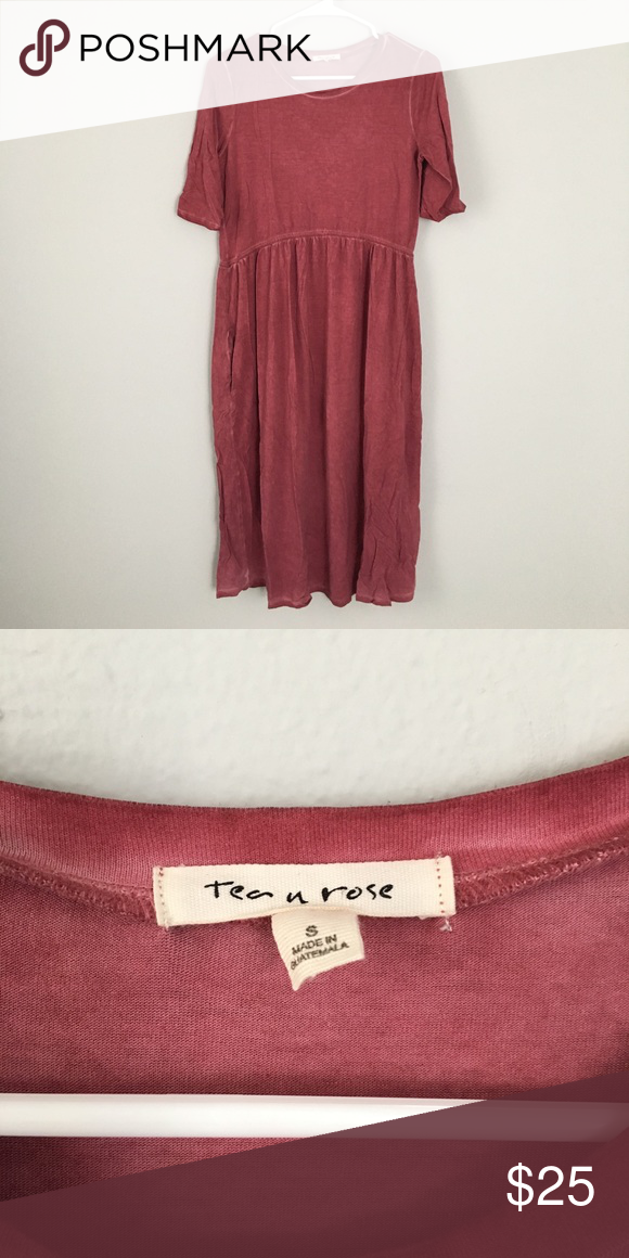 "Roolee Rust Midi Dress with Pockets Roolee Tea and Rose rust-colored Midi  Dress with pockets. Fabric has a ""worn"" quality. NWOT. Size S. Roolee  Dresses Midi b93419eb3"