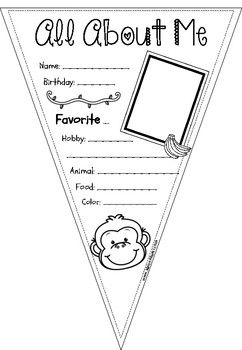 All About Me Pennants in the monkey theme for getting to know your students better.