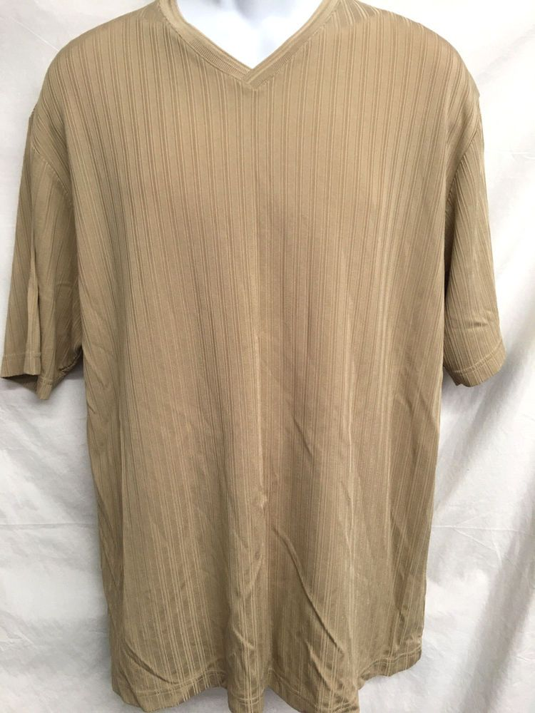 Claiborne V-Neck Mens XL Shirt Dress Casual Short Sleeve Stretch Ribbed Khaki #Claiborne #Casual