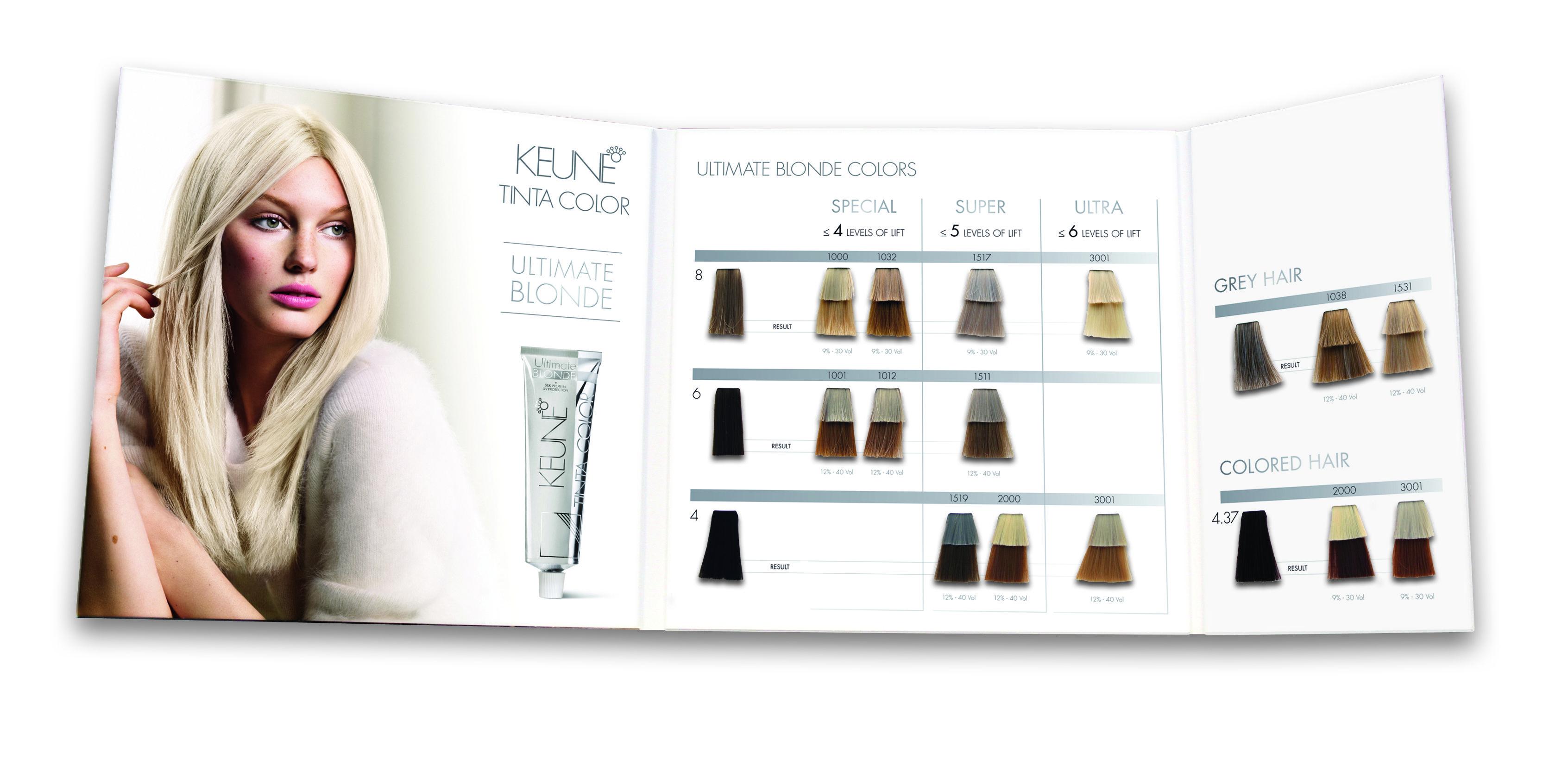 Keune Tinta Color Ultimate Blonde Swatch Book