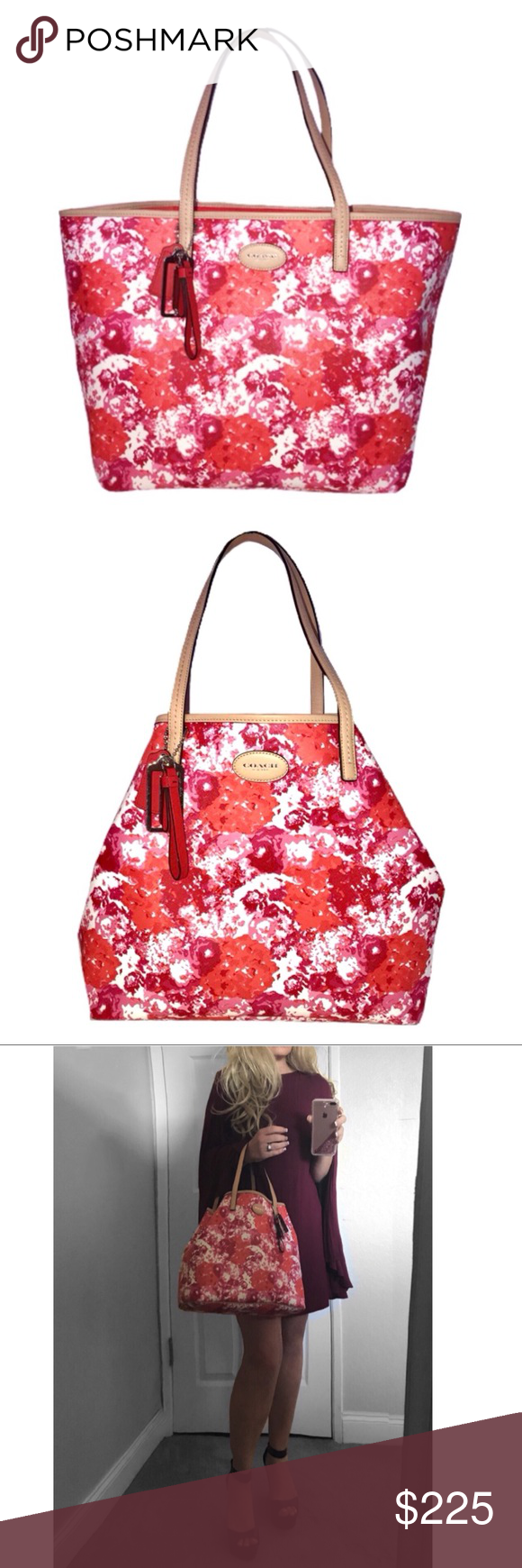 c132e1b908f NWT Coach Metro Floral Print Tote • Spring floral print canvas with leather  trim • Inside zip, cell phone and multifunction pockets • Handles with 7  3 4