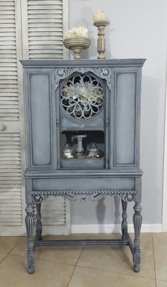 SOLD!!! Re-Purposed Antique Radio Cabinet, Display Cabinet, China Cabinet Hand Painted and Distressed in Layers of Gray #beautifulviews