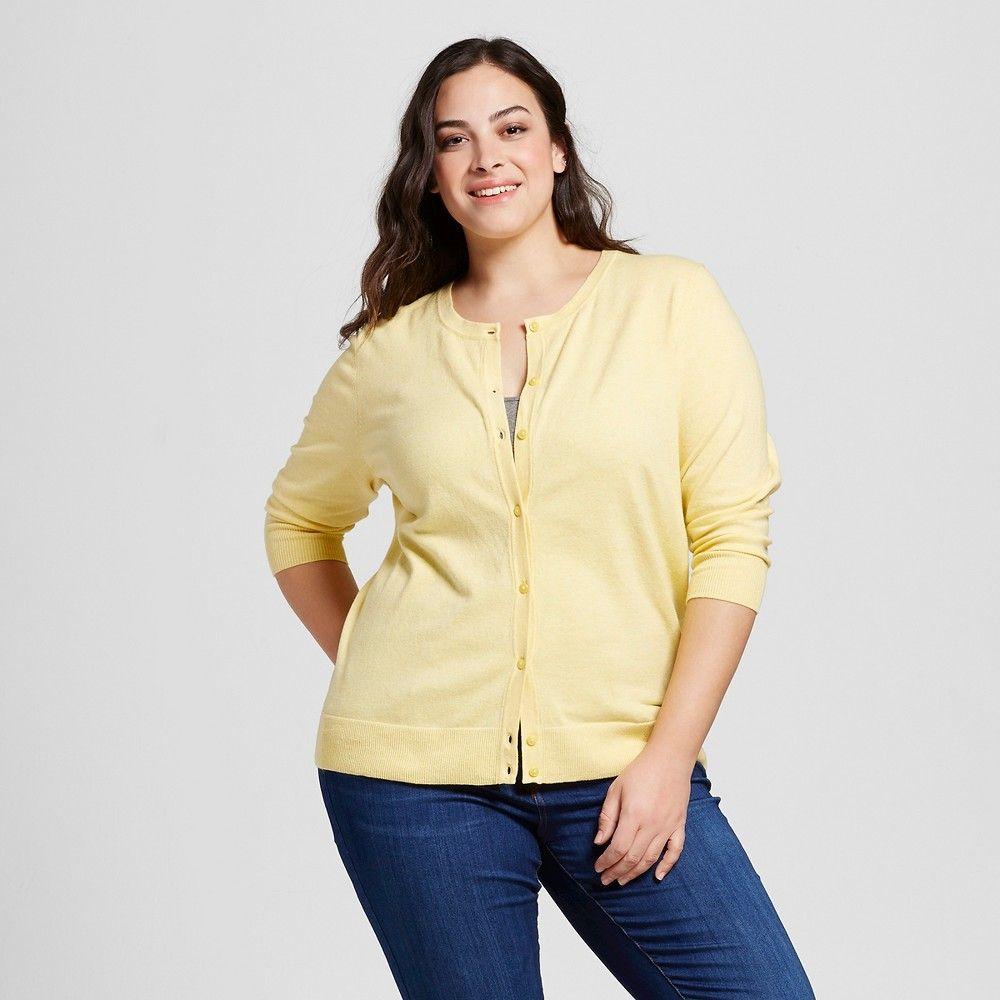 Women's Plus Size Favorite Cardigan Lemon (Yellow) 4X - Merona ...