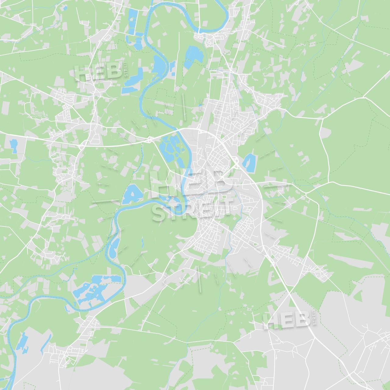 Nienburg/Weser, Germany printable street map | HEBSTREITS ...