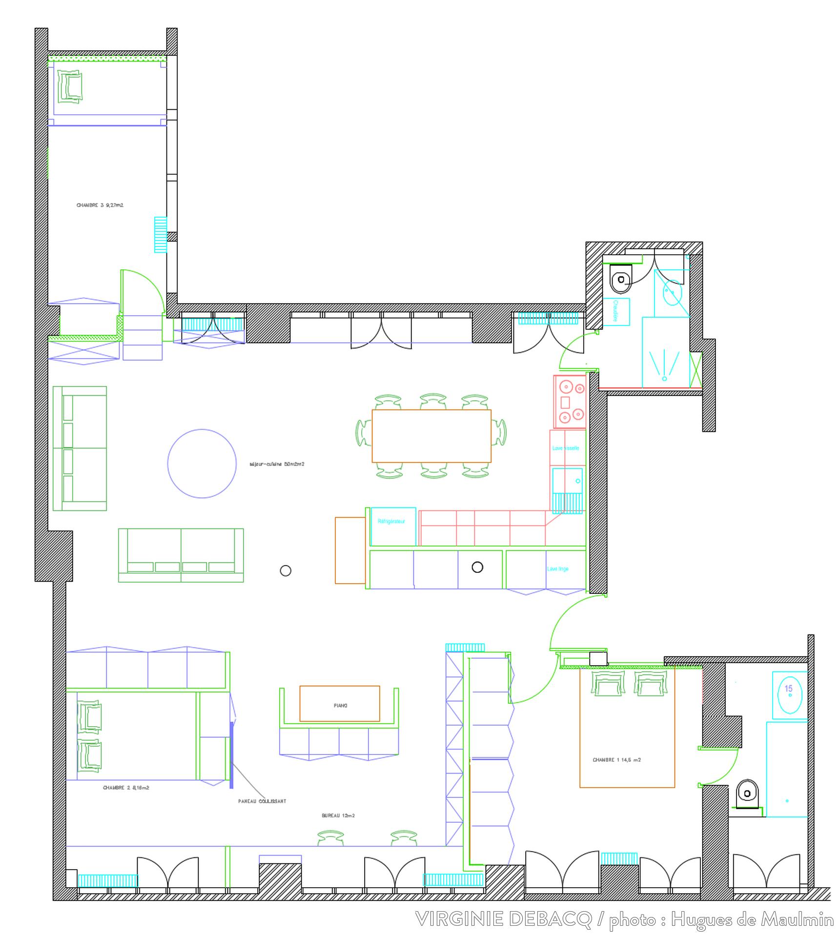 plan d 39 un appartement de 110m2 lofts pinterest. Black Bedroom Furniture Sets. Home Design Ideas