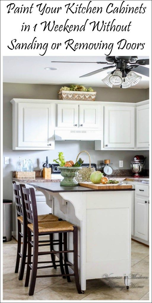 paint kitchen cabinets white in one weekend without removing doors feature 2