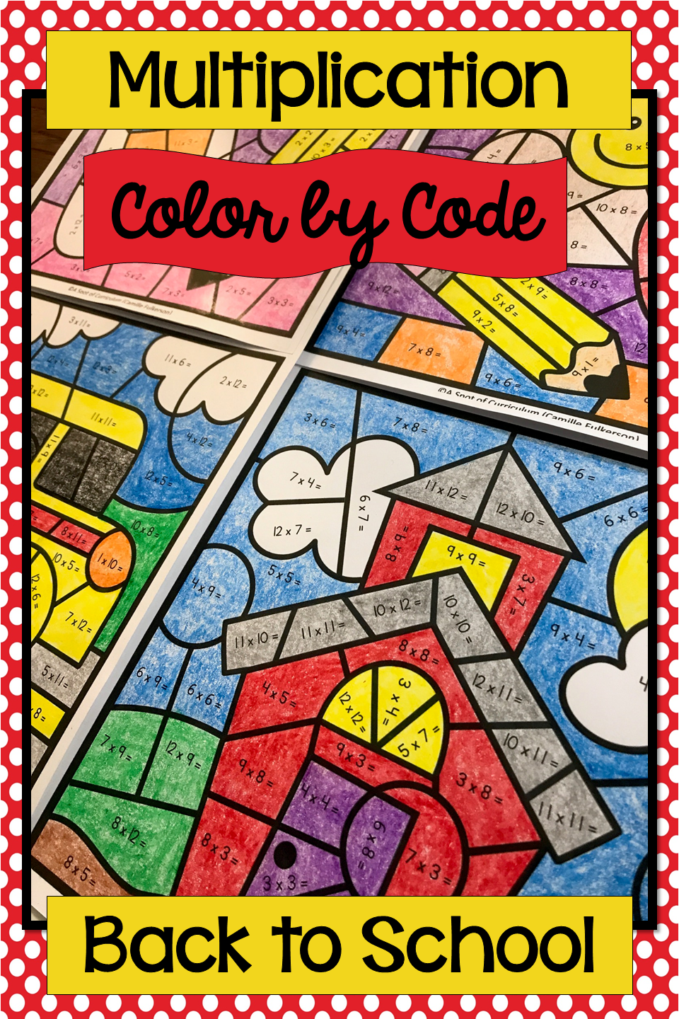 Multiplication Color by Number Back to School   Multiplication [ 1440 x 960 Pixel ]