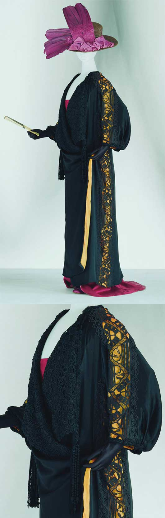 """Coat, Paul Poiret, 1906-1909. Silk satin, kimono sleeves, rectangular flat form like kimono, crochet and bobbin lace, black lace lapel with tassel, yellow silk """"habutae"""" lining. Poiret called this a """"kimono coat."""" The pieces were cut straight. Poiret introduced loose-fitting silhouette coats like this at the same time as dresses that had a new silhouette with the support point at the shoulders instead of the waist. Kyoto Costume Institute."""