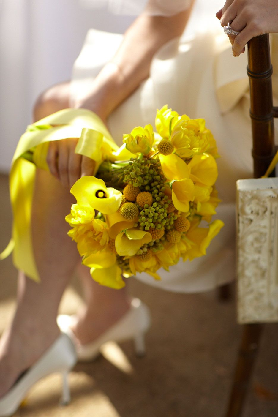 Wedding decorations yellow and gray  Say ucI doud to a lush bouquet of canary yellow flowers  Beautiful
