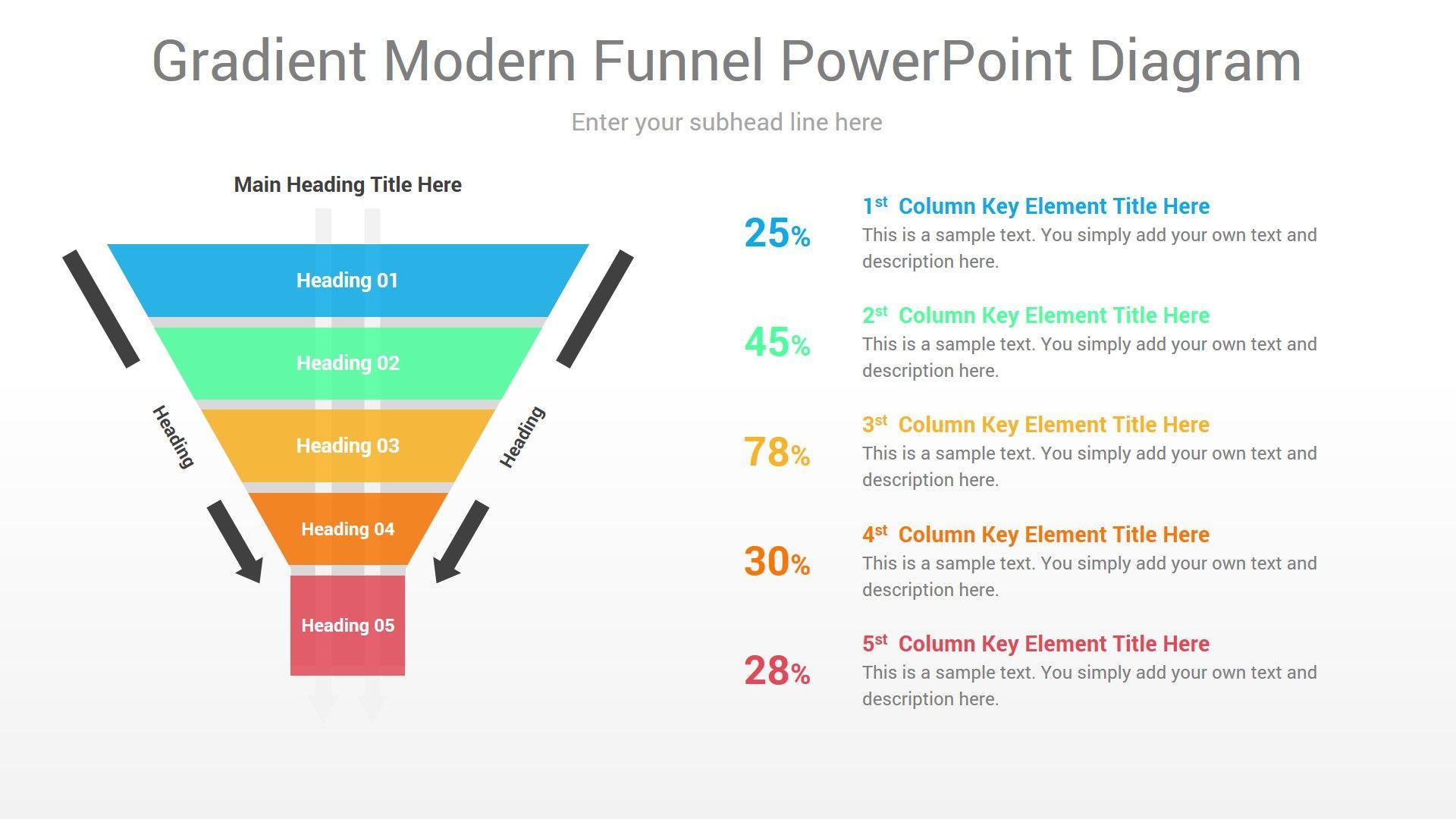Gradient Modern Funnel Powerpoint Diagram In 2020 Powerpoint Infographic Diagram