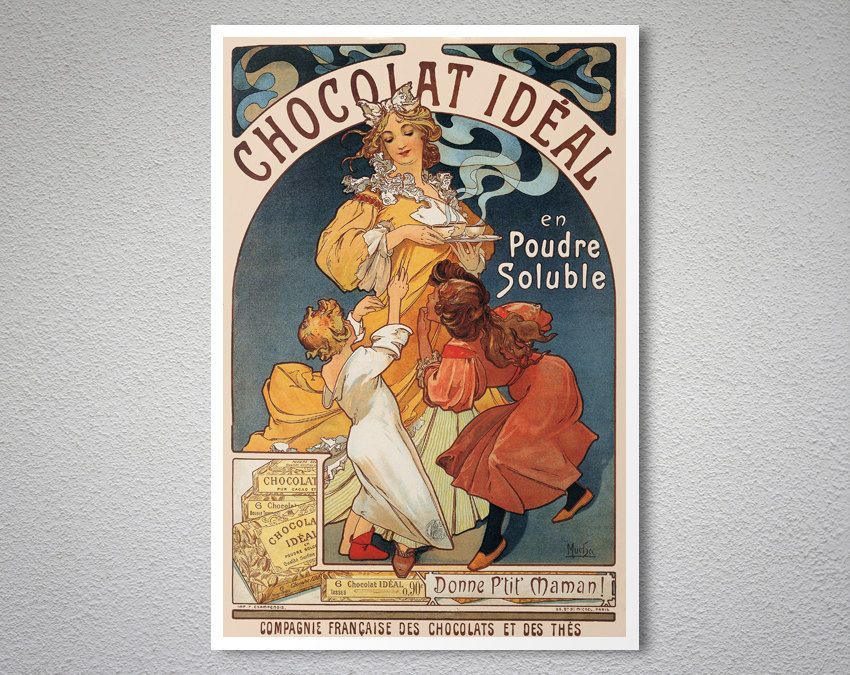 Chocolat Ideal Vintage Food Drink Poster By Alphonse Mucha 1897