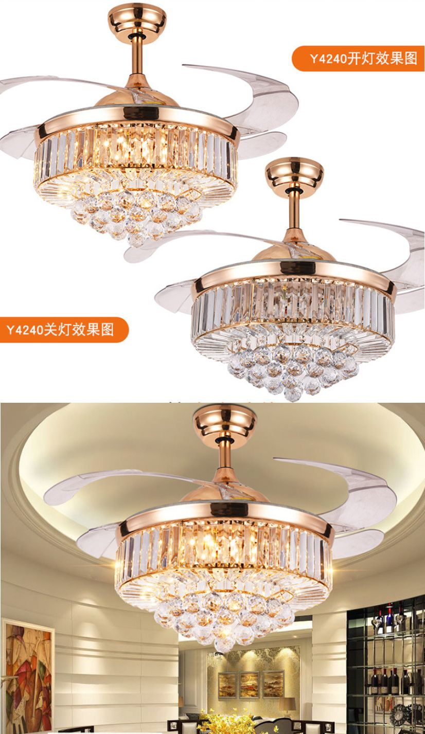 Luxury Ceiling Fan Ceiling Fans 176937 Luxury Invisible 42 Rose Gold Led Crystal