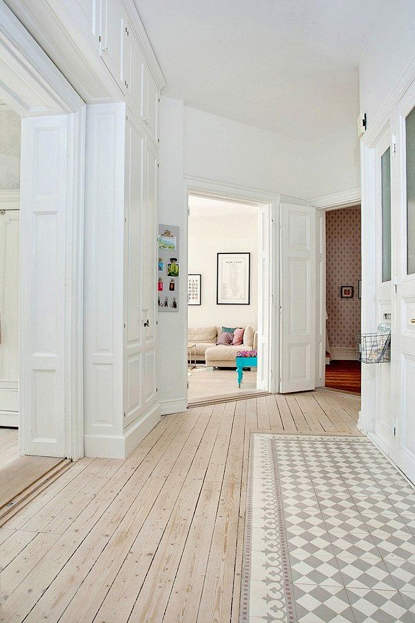 Mix parquet et carreaux de ciment Deco Pinterest Carrelage de