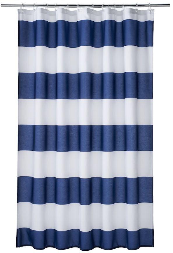 Navy White Shower Curtain Nantucket Bath Affiliate Striped