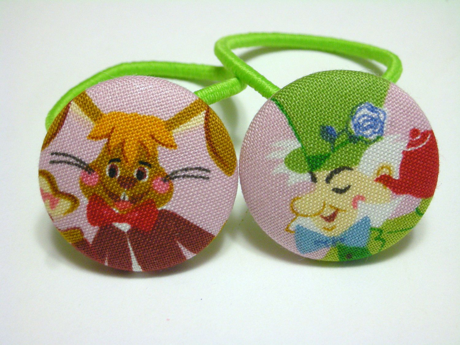Mad Hatter and March Hare2 ponytail holders by CuckooBoo on Etsy, $4.00