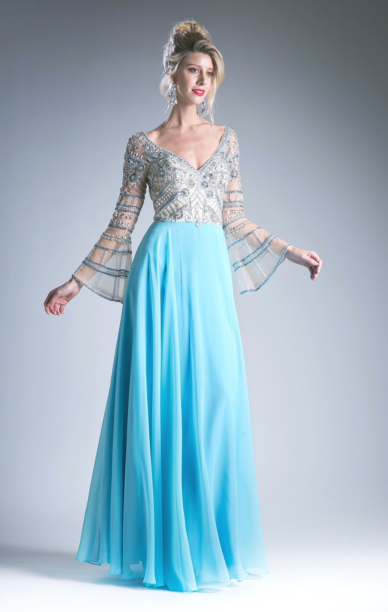 Blue beaded vneck dress with sheer long sleeves by cinderella