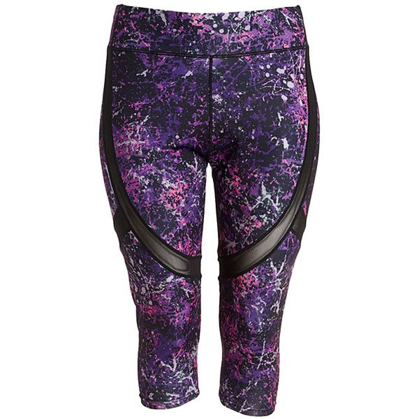 crush purple abstract capri leggings ($13) ❤ liked on polyvore