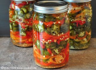 Pickled Hot Peppers from The Creekside Cook | Featured in Easy Refrigerator Pickles by Gooseberry Patch