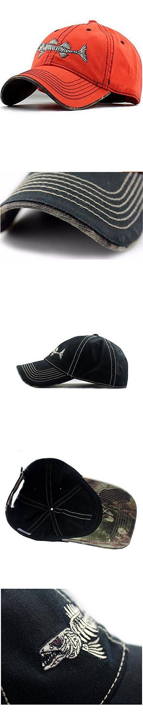 20c5f3ec94415 ... Baseball Caps by Deana Cole. AKIZON Men s Trucker Hat Fishing Style  with Fish bones (Orange)