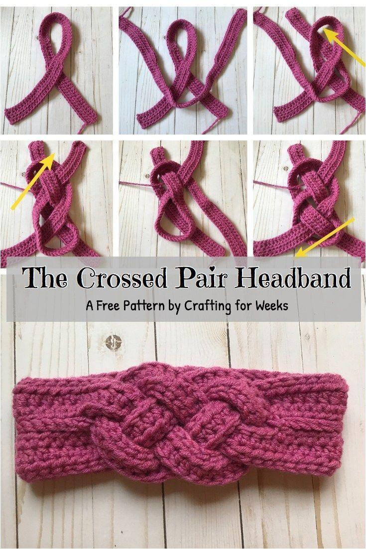 La paire de bandeaux croisés: un patron de crochet gratuit – bricolage pendant des semaines …   – Knithat