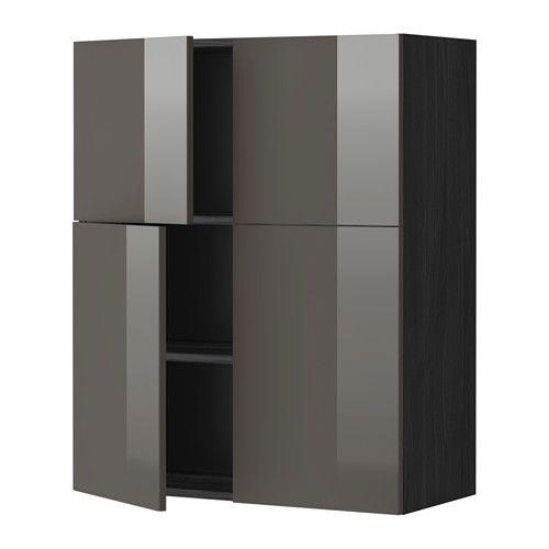 METOD Bovenkast m planken/4 deuren - houtpatroon zwart, Ringhult hoogglans grijs - IKEA