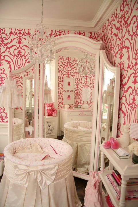 Patricia Halpin Interiors: Sweet girl's nursery design with white & pink damask wallpaper, white round crib with ...