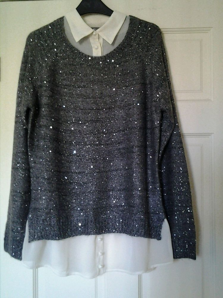 Bnwt South Sz Q6 Grey Cream Jumper Blouse Combo Fashion Clothing