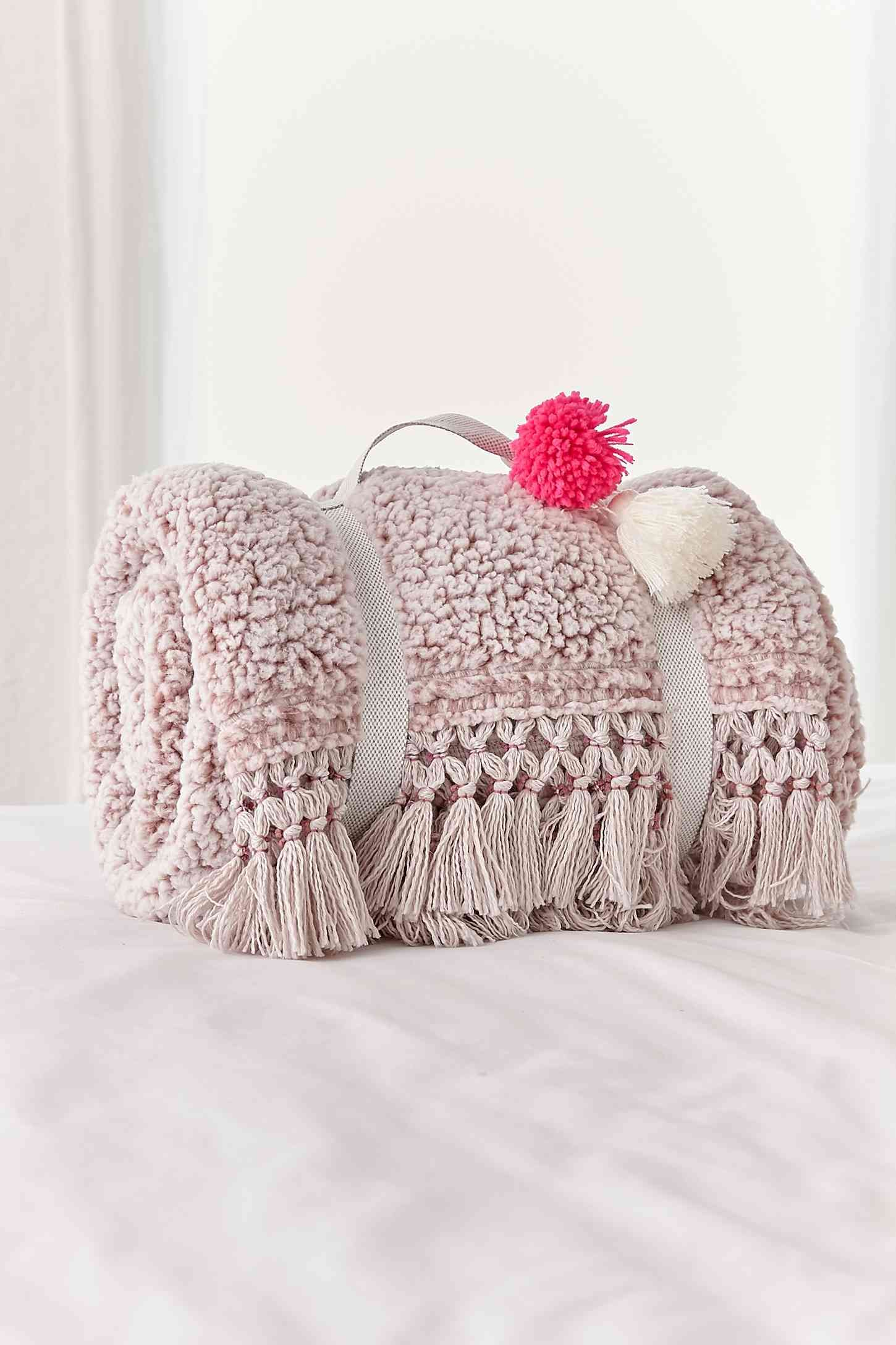 sherpa fringe pillow from UO i want this so bad Throw