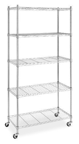 79 47 2 Locking Wheels Holds 200 Pounds Chromed Steel Frame Whitmor S Supreme 5 Tier Chrome Shelving Unit With Is Ideal For Kitchen