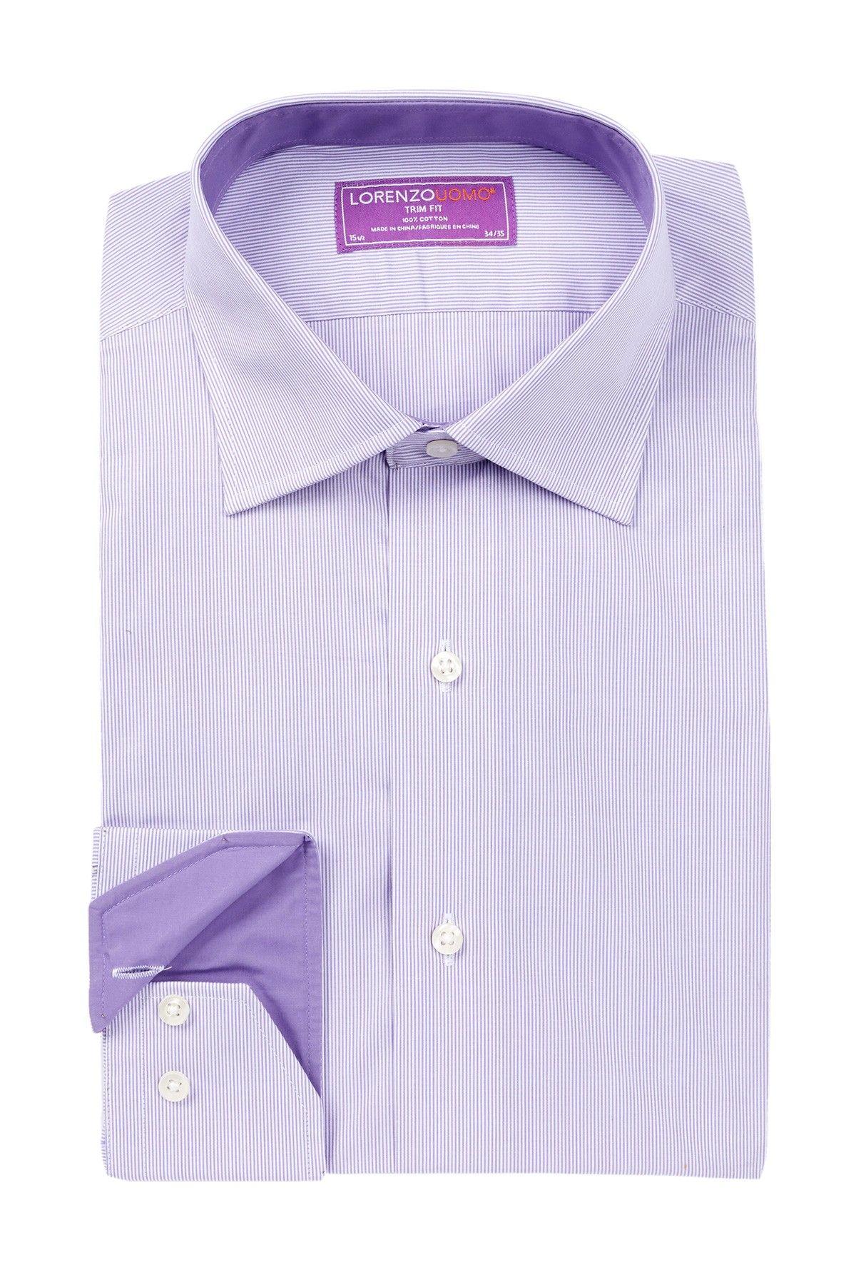 Lorenzo Uomo | Long Sleeve Trim Fit Thin Stripe Dress Shirt