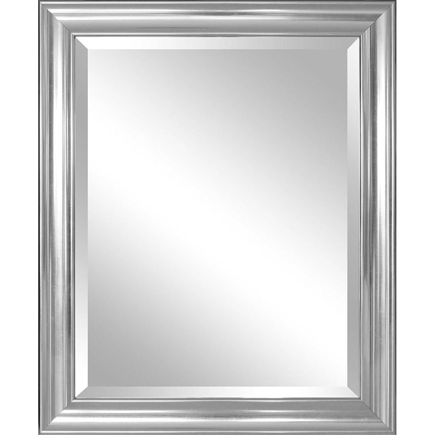 Bathroom Mirror with Silver Frame - Hangs Vertically or Horizontally ...