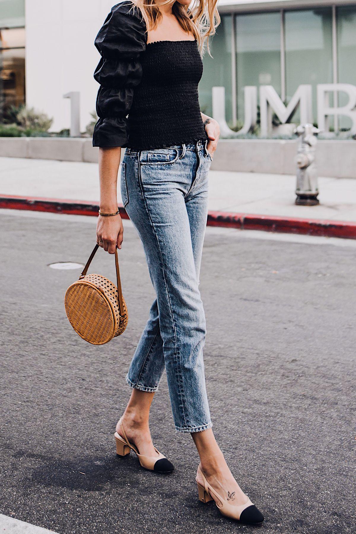 83a2a8038374 Blonde Woman Wearing Fashion Jackson Reformation Gala Top Black Straight  Leg Ripped Jeans Chanel Slingback Shoes Cane Circle Straw Handbag Fashion  Jackson ...