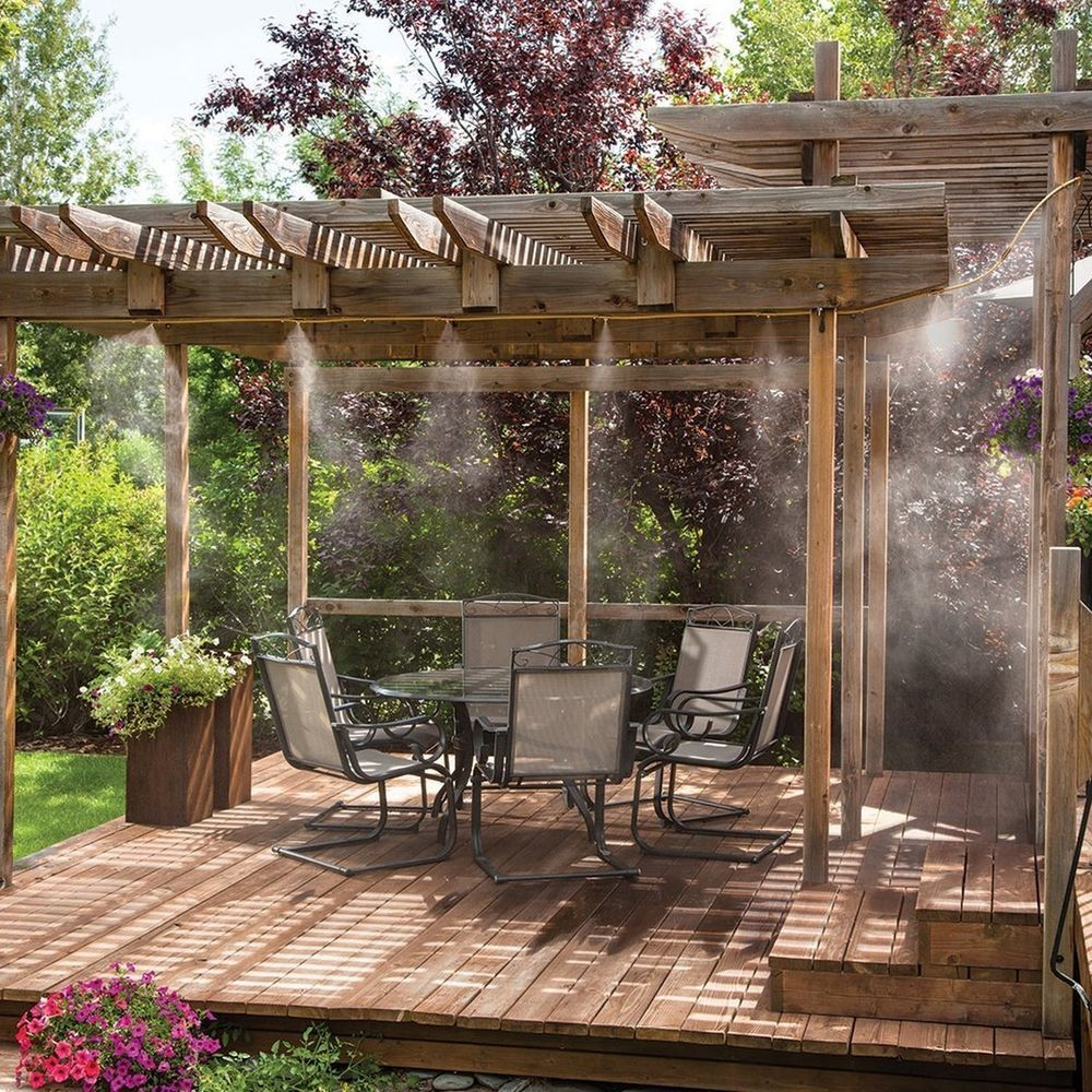 i had the 10ft one the metal parts rust but otherwise work well outdoor misting system patio air cooler pool deck mist garden cooling kit 20ft by orbit - Patio Misting System