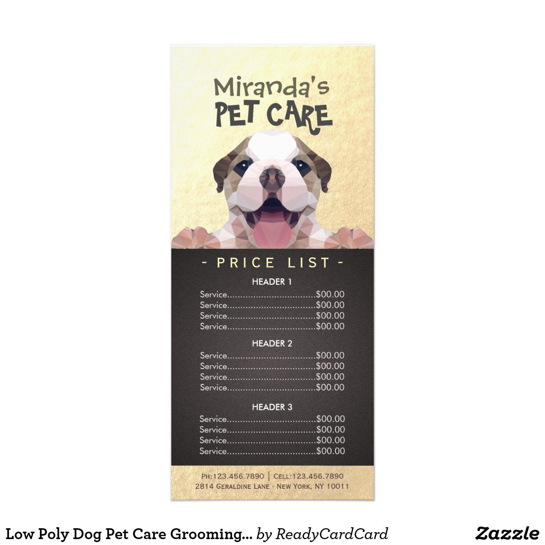 Low Poly Dog Pet Care Grooming Bathing Price List Rack