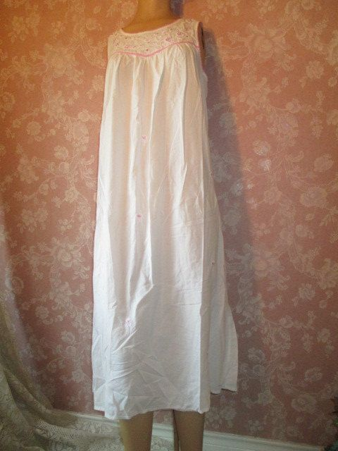 7defcedd67 Vintage White Cotton Nightgown Long Floor Length Embroidered Pink ...