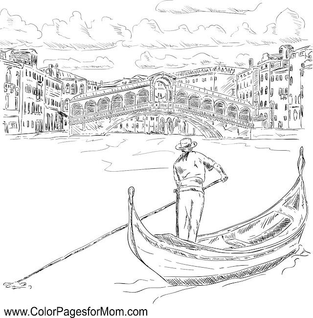 Landscape Coloring Page 51 Gondola Venice Coloring Pages Rialto