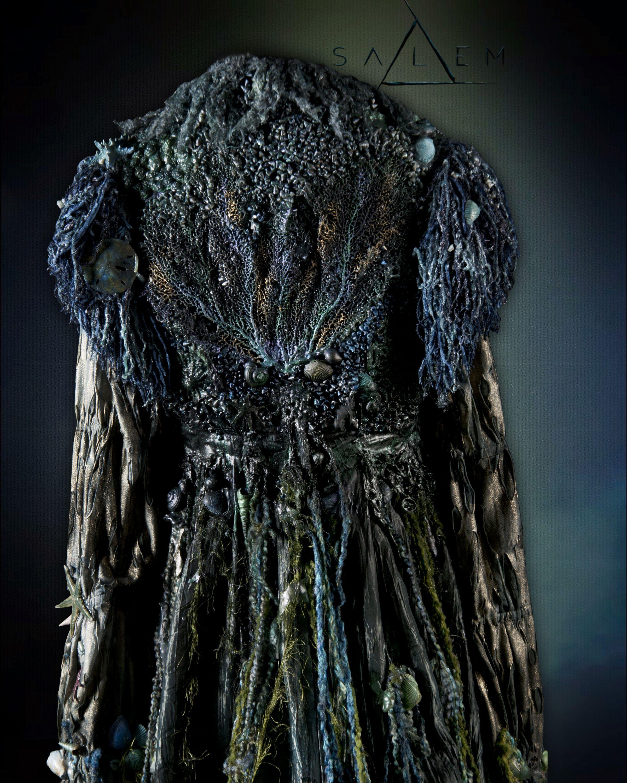 Back detailing of Marburg water witch dress showing algae, sea fan ...