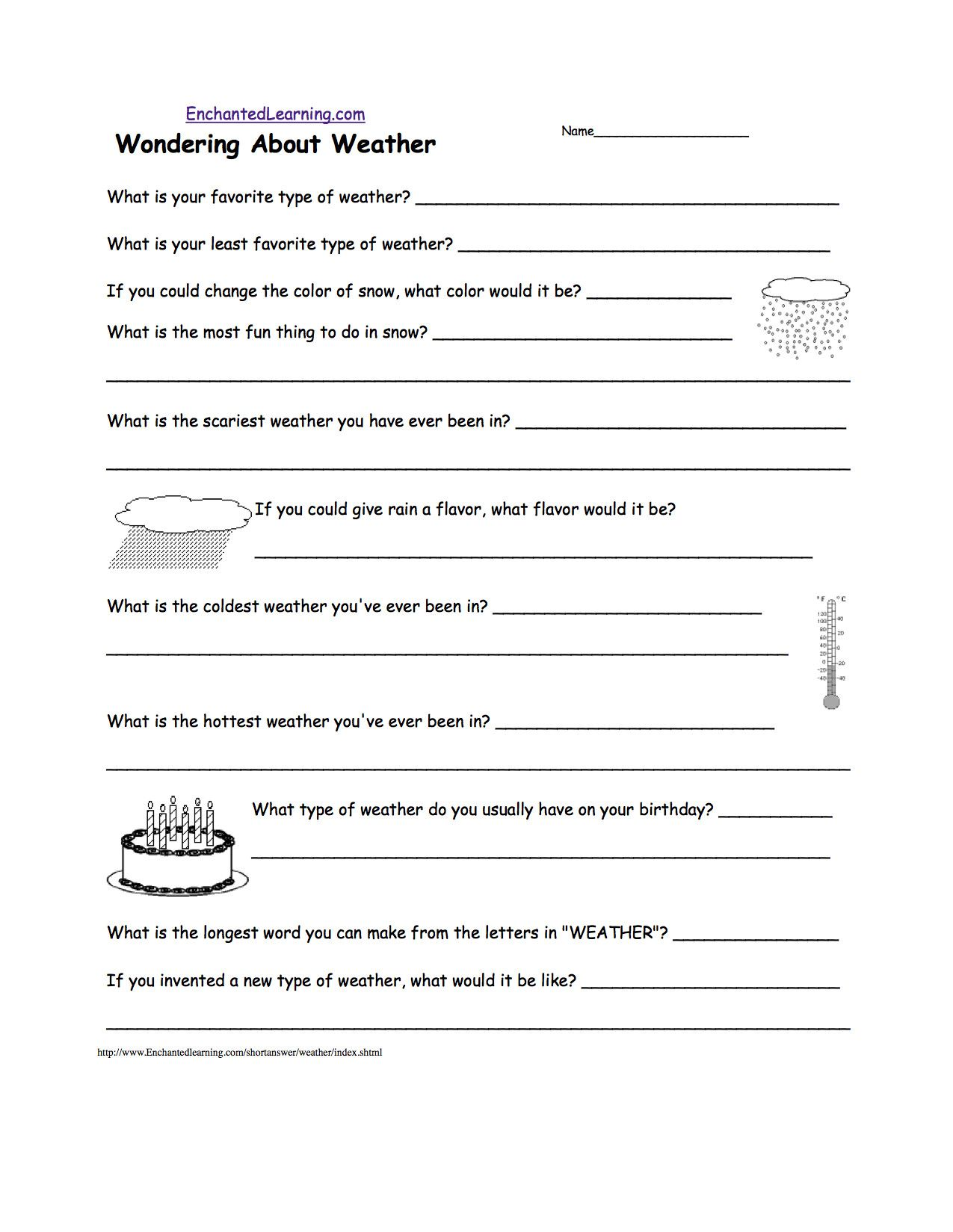Weather Worksheets For 3rd Grade In