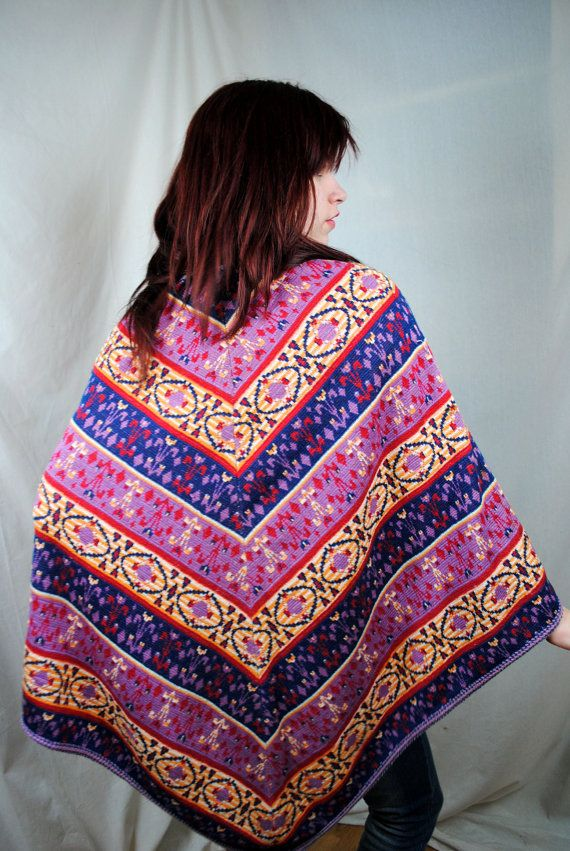 Vintage 70s Ethnic Poncho by RogueRetro on Etsy, $36.00