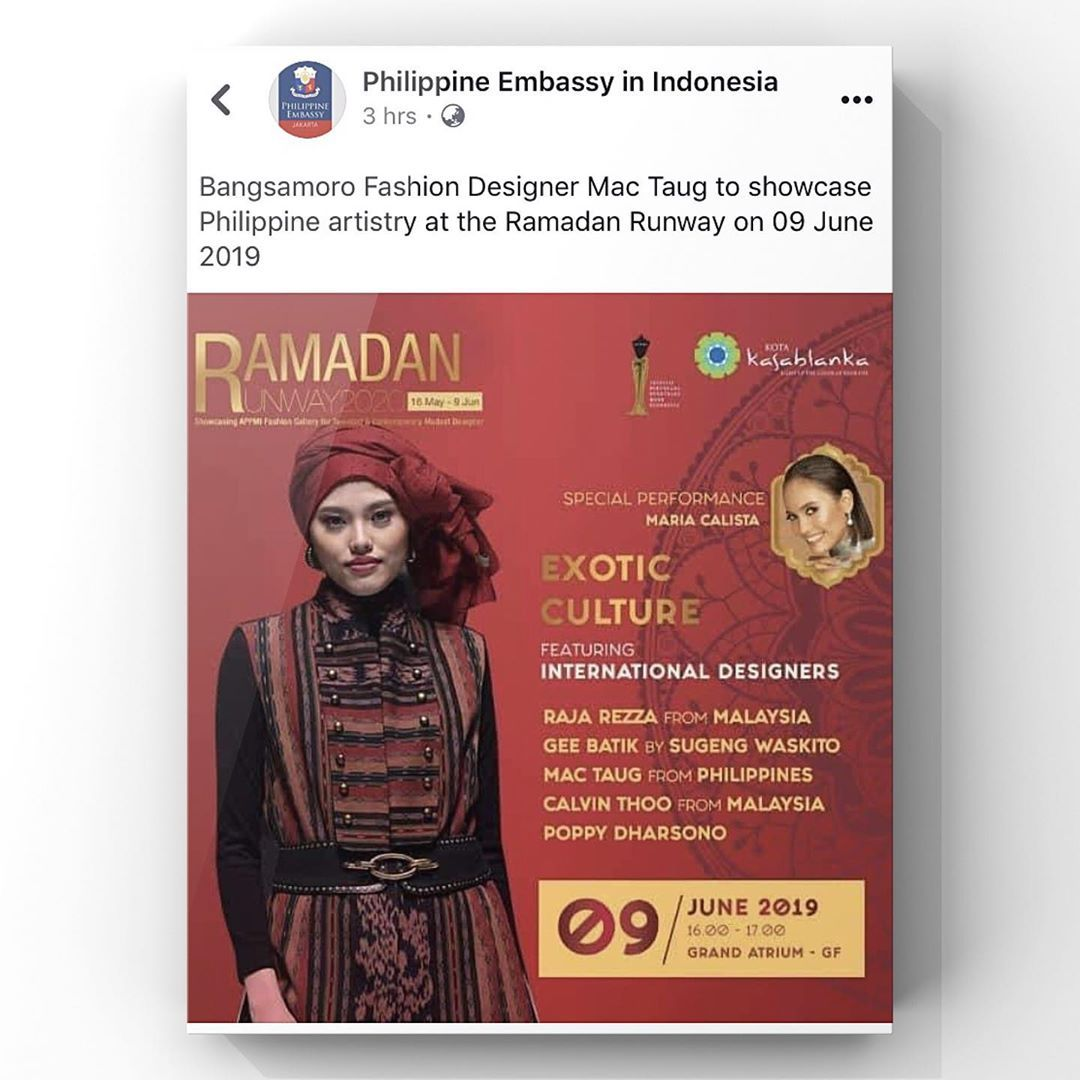 Phillipine Embassy Broadcasted Ramadan Runway For The Performance On June 09 2019 Where Designer From Phillpine Will Be A Fashionlovers Ramadan Fashion Design
