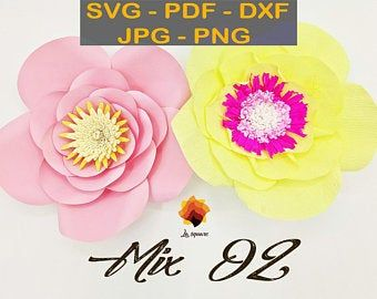 CTF 04| Giant Paper flowers SVG, paper flower template Pdf, paper flower center, leaf template DXF Png Jpg for cricut silhouette #giantpaperflowers