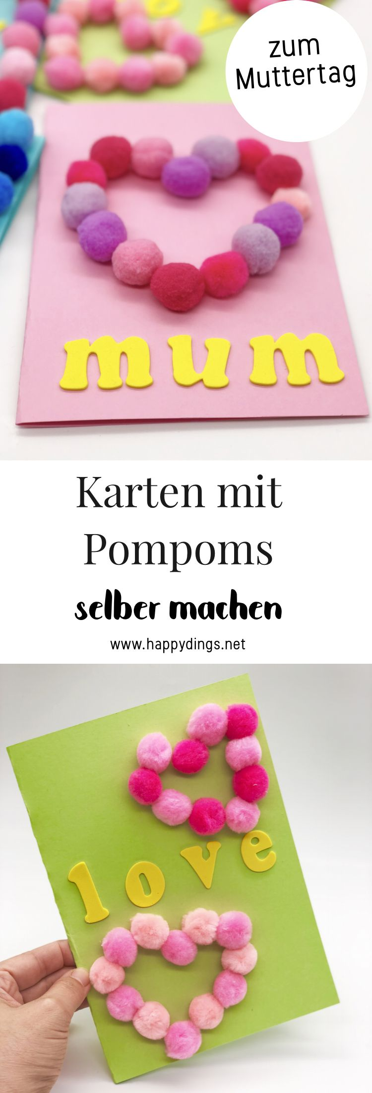 basteln mit pompons kreative karten selber machen muttertag basteln diy pinterest. Black Bedroom Furniture Sets. Home Design Ideas