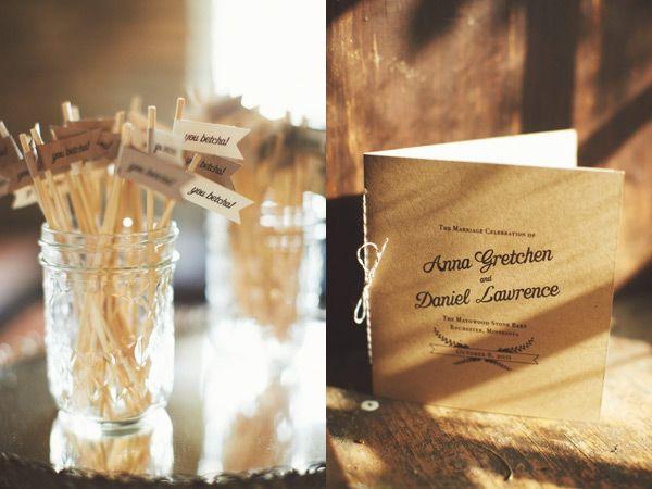 drink mini flags DIY wedding programs #rusticweddings #rustic #weddingideas